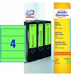 Этикетки для папок-регистраторов зеленые Avery Zweckform A4, 192×61мм, 20 листов, 80 этикеток, L4768-20