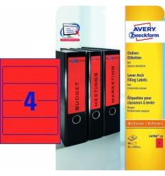 Этикетки для папок-регистраторов красные Avery Zweckform A4, 192×61мм, 20 листов, 80 этикеток, L4766-20