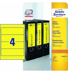 Этикетки для папок-регистраторов желтые Avery Zweckform A4, 192×61мм, 20 листов, 80 этикеток, L4769-20