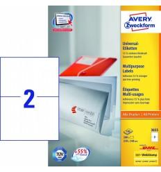 Этикетки универсальные Avery Zweckform 210x148мм, белые, А4, 100листов, 200 этикеток, Z3655