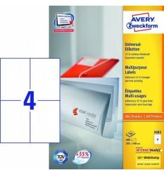 Этикетки универсальные Avery Zweckform 105x148мм, белые, А4, 100листов, 100 этикеток, Z3483