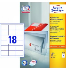 Этикетки универсальные Avery Zweckform 64х45мм, белые, А4, 100листов, 1800 этикеток, Z3671