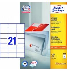 Этикетки универсальные Avery Zweckform 70x41мм, белые, А4, 100листов, 2100 этикеток, Z3481