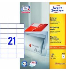 Этикетки универсальные Avery Zweckform 70x42,3мм, белые, А4, 100листов, 2100 этикеток, Z3652