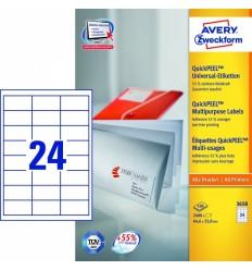 Этикетки универсальные Avery Zweckform 64,6x33,8мм, белые, А4, 100листов, 2400 этикеток, Z3658 QP