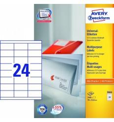 Этикетки универсальные Avery Zweckform 70x33,8мм, белые, А4, 100листов, 2400 этикеток, Z3664