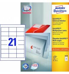 Этикетки универсальные Avery Zweckform 64х36мм, белые, А4, 100листов, 2100 этикеток, Z3670 QP