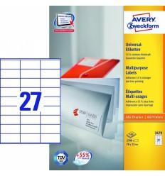 Этикетки универсальные Avery Zweckform 70x32мм, белые, А4, 100листов, 2700 этикеток, Z3479