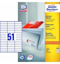 Этикетки универсальные Avery Zweckform 70x16,9мм, белые, А4, 100листов, 5100 этикеток, Z3420