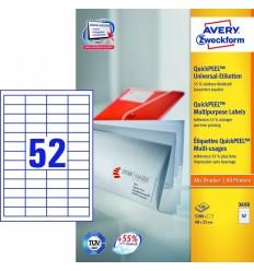 Этикетки универсальные Avery Zweckform 48х21мм, белые, А4, 100листов, 5200 этикеток, Z3650