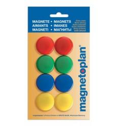 Магниты сигнальные Magnetoplan, диаметр 30мм, 8шт. в уп, разноцветные