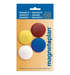 Магниты сигнальные Magnetoplan, диаметр 40мм, 4шт. в уп, разноцветные