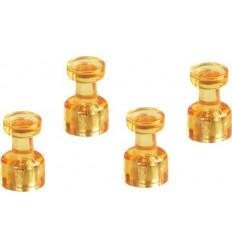 Магниты мини декоративные колбочки Magnetoplan, диаметр 18мм, 4шт. в уп, прозрачные оранжевые