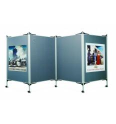 Мобильный презентационный текстильный стенд Magnetoplan, серый (три двусторонние доски 1500 х 1200 мм).