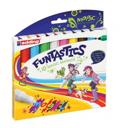 Детские волшебные фломастеры Edding 13 FUNTASTICS MAGIC FUN, 3мм, 8 цветов