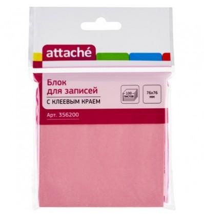Бумага для заметок Attache 76х76мм, розовая пастель, 100 листов