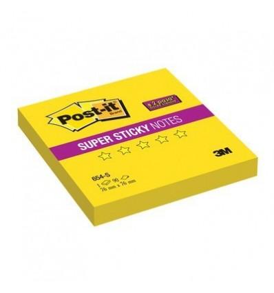 Бумага для заметок Post-it Super Sticky 76x76мм, желтый неон, 100 листов