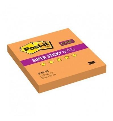 Бумага для заметок Post-it Super Sticky 76x76мм, оранжевый неон, 90 листов