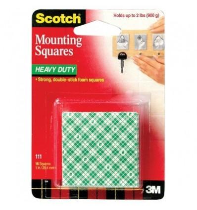 Двусторонние монтажные квадраты 3M Scotch, 25ммх25мм, 16 штук
