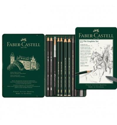 Набор графитовых карандашей FABER-CASTELL Pitt Graphite, 11 предметов, в металлической коробке