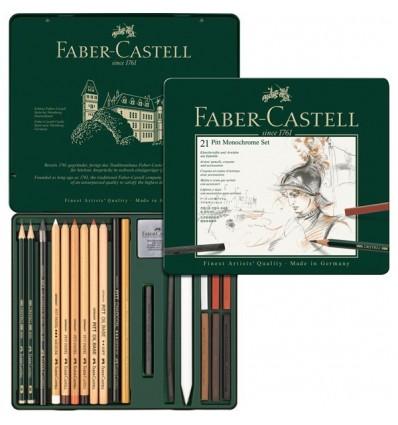 Набор графитовых карандашей FABER-CASTELL Pitt Monochrome, 21 предмет, в металлической коробке