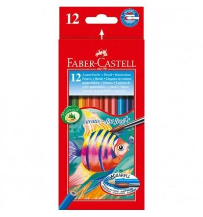 Набор цветных акварельных карандашей FABER-CASTELL AQUARELLE, 12 цветов с кисточкой