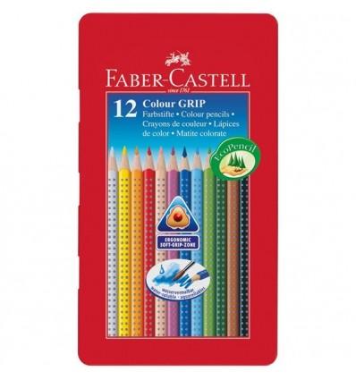 Набор цветных трехгранных карандашей FABER-CASTELL GRIP 2001, 12 цветов в металлической коробке