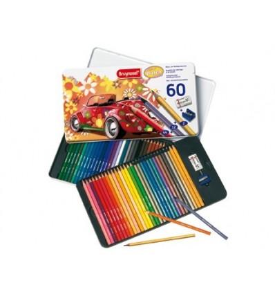 Набор цветных карандашей Bruynzeel Машина 58 цветов, ластик, точилка в металлической коробке
