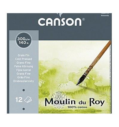 Альбом для акварели CANSON Moulin du Roy FIN 30*40см, 300гр. 12л., бумага мелкое зерно, склейка