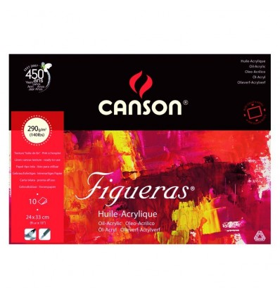 Альбом для масла CANSON Figueras 33*24см, 290гр. 10л., бумага зерно холста, склейка по 4 сторонам