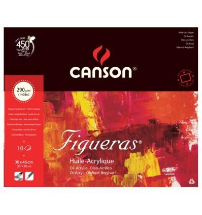 Альбом для масла CANSON Figueras 46*38см, 290гр. 10л., бумага зерно холста, склейка по 4 сторонам