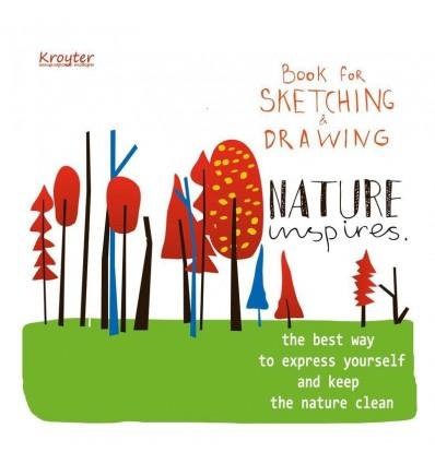 Альбом для эскизов Kroyter Nature, 200х200мм., 60л., 200гр, склейка