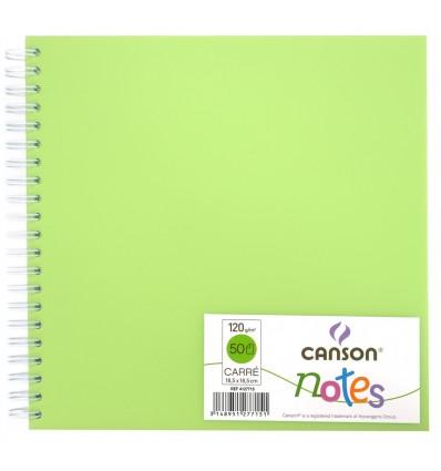 Скетчбук CANSON Notes 18.5*18.5см, 120гр. 50л., пластиковая обложка зеленая, спираль