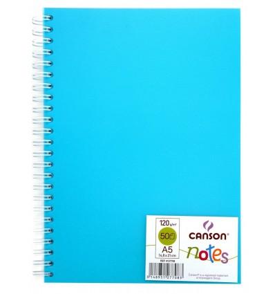 Скетчбук CANSON Notes А5 14.8*21см, 120гр. 50л., пластиковая обложка голубая, спираль