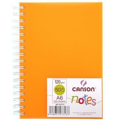 Скетчбук CANSON Notes А6 10.5*14.8см, 120гр. 50л., пластиковая обложка оранжевая, спираль