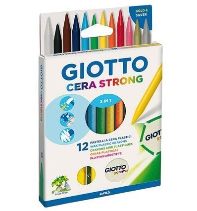 Восковые мелки GIOTTO CERA strong, 10 цветов, точилка и ластик