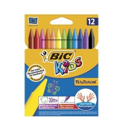 Восковые мелки BIC Kids Plastidecor, 12 цветов.