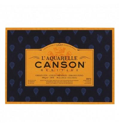 Альбом для акварели CANSON Heritage FIN (ФИН), 300гр., 18*26см 20л, среднее зерно, склейка по 4-м сторонам