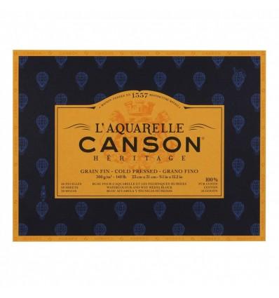 Альбом для акварели CANSON Heritage FIN (ФИН), 300гр., 23*31см 20л, среднее зерно, склейка по 4-м сторонам