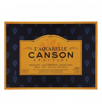 Альбом для акварели CANSON Heritage FIN (ФИН), 300гр., 36*51см 20л, среднее зерно, склейка по 4-м сторонам