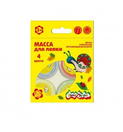 Масса для лепки Каляка-Маляка, 4 цвета по 14гр - красный, синий, зеленый, желтый