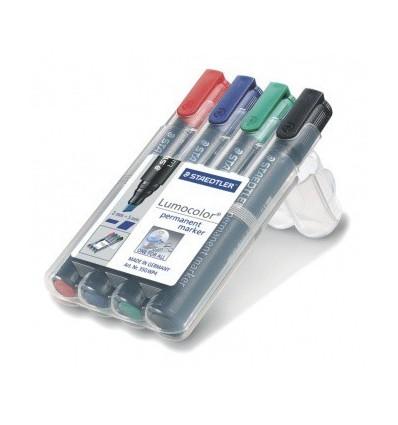Набор перманентных маркеров STAEDTLER Lumocolor 352, скошенный наконечник, 2мм, 4цвета, в пластиковом пенале