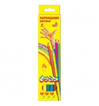 Карандаши цветные шестигранные Каляка-маляка, 6 цветов