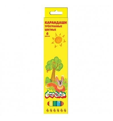 Карандаши цветные трехгранные Каляка-маляка, 6 цветов