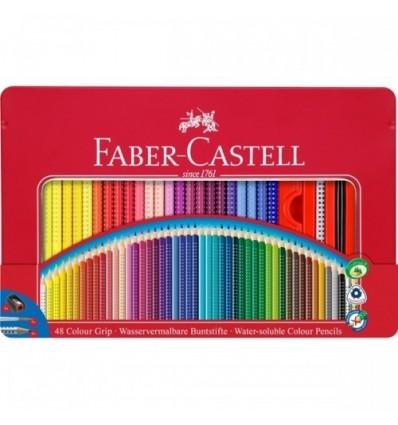 Набор цветных трехгранных карандашей FABER-CASTELL GRIP 2001, 48 цветов в метал. коробке с аксессуарами