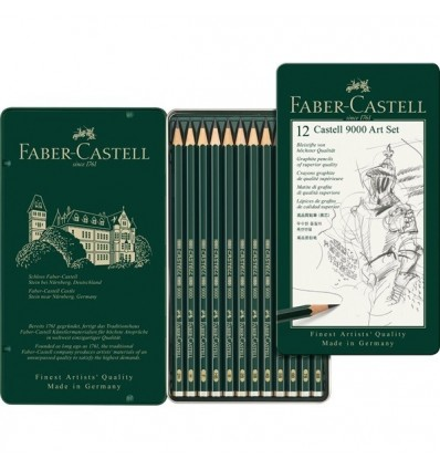 Набор чернографитных карандашей FABER-CASTELL CASTELL® 9000, 12шт (8B - 2H), в метал. коробке