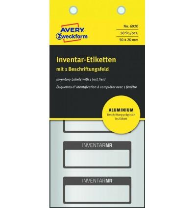 Инвентарные этикетки Avery Zweckform 50х20мм серебристые с черной рамкой, 10 листов, 50 этикеток, 6920