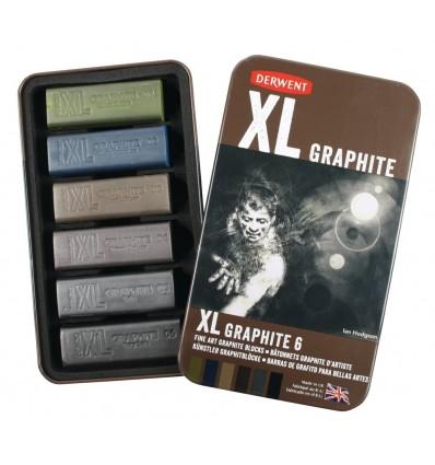 Набор цветного графита DERWENT XL 60 х 20мм, 6 цветов в металлической коробке