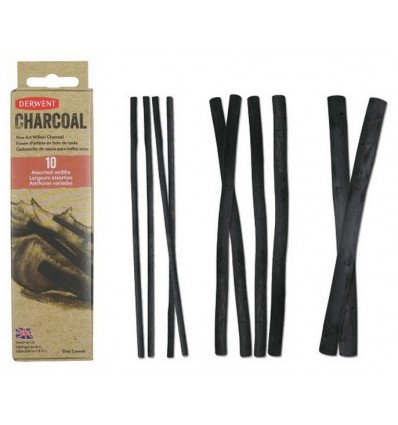 Уголь ивовый DERWENT Willow Charcoal, 10шт (2 толстых, 4 средних, 4 тонких)