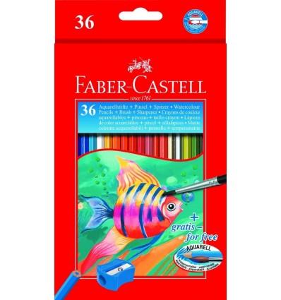 Набор цветных акварельных карандашей FABER-CASTELL AQUARELLE, 36 цветов с кисточкой